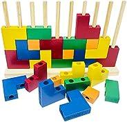 Brinquedo Educativo Blocos de Encaixe Madeira
