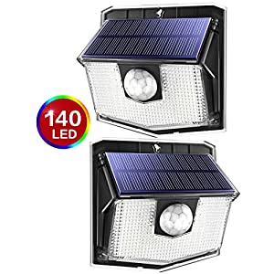 140 LED Solar Lights Outdoor, Mpow Motion Sensor Security Light with 3 Lighting Modes, 270°Wide Angle, IPX7 Waterproof Durable Solar Wall Lights for Front Door, Yard, Garage, Fence, Deck(2 Pack)