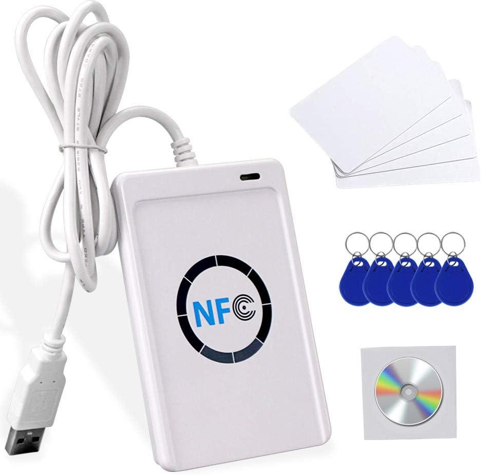 FTSTech Lector/Escritor RFID NFC Inteligente ACR122U Máquina Clonadora de Tarjetas ISO 14443 A/B + Software Gratuito + 5 Uds llaveros UID Grabables