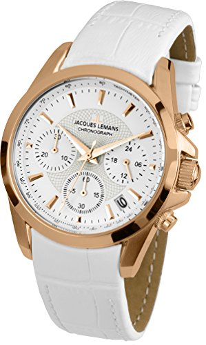 Jacques Lemans Liverpool 1-1752H 35mm Ion Plated Stainless Steel Case White Calfskin Mineral Women's Watch