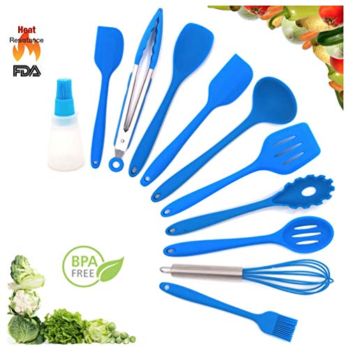Shpebs 11 Pcs Silicone Heat Resistant Kitchen Cooking Utensils set Non-Stick Baking Tool, Spatulas, Serving Tong, spoon and more (blue) ()