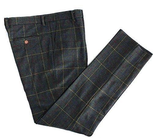 Mens Premium Wool Blend Tweed Herringbone Slim Fit Check Plaid Casual Suit Separate ()