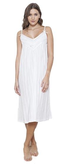 Cottonreal Ramsey 100% Cotton Jaquard Tramline Strappy Nightdress (XS UK  8 10) f35e975943cd