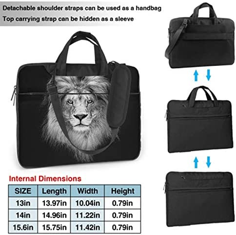 Swono Lion Laptop Bag,Beautiful Lion Head in Dark Art Design Laptop Sleeve Messenger Adjustable Shoulder Strap External Pocket for Men Women 15.6