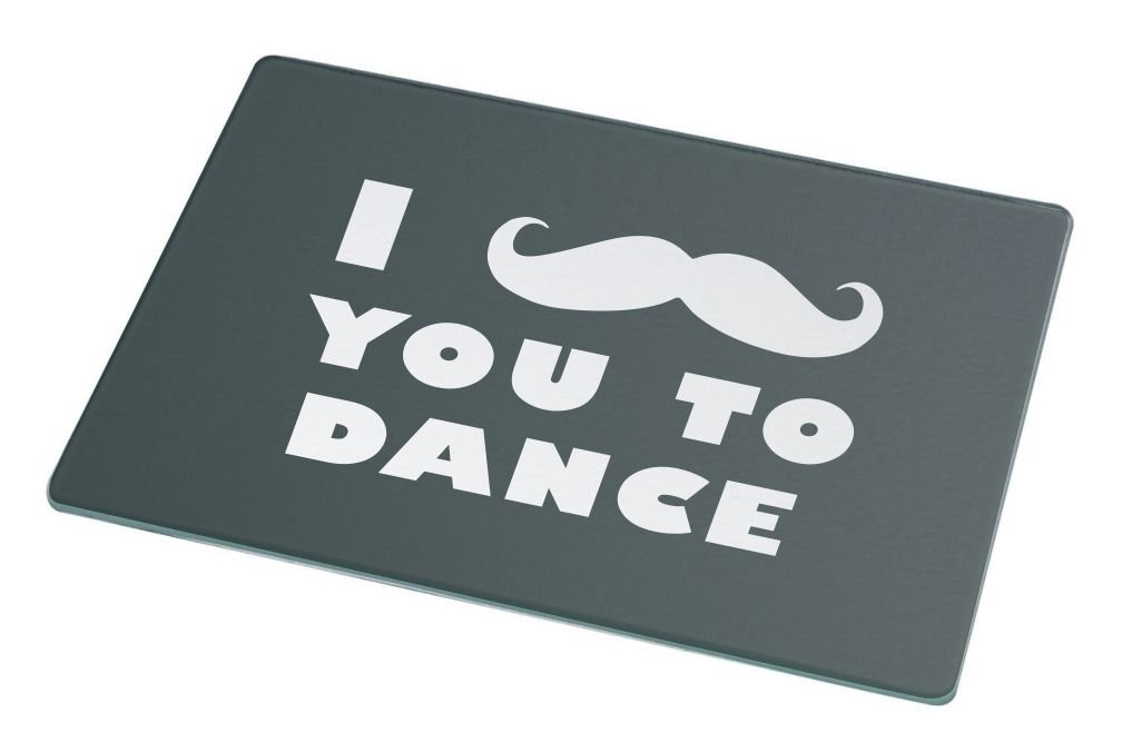 Rikki Knight I Mustache You To Dance Green Color Large Glass Cutting Board
