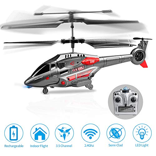 ROTOBAND RC Helicopter, Remote Control Helicopter with Gyro and LED Light 3.5Hz Channel Mini Alloy Military Series Remote Helicopter (Gray)