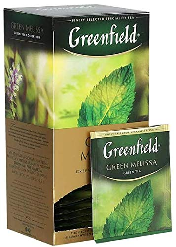 - [2 PACK] green tea Greenfield melissa dessert Beverages Grocery Gourmet Food [25 tea bags in 1 PACK]