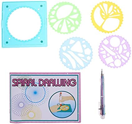 MagiDeal Juego Spirograph geométrico Regla Plantilla Espiral de ...
