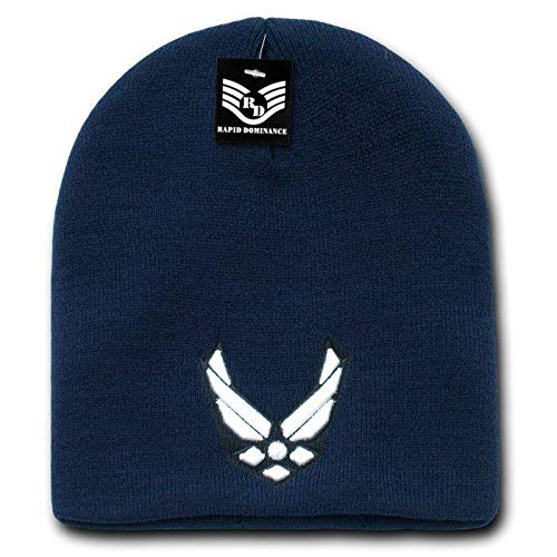 Rapid Dom Embroidered US Navy Blue White Air Force Wings Logo USAF Officially Military Cuffless Watch Cap Stocking Hat - Logo Cuffless Knit Hat