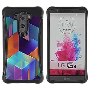 Híbridos estuche rígido plástico de protección con soporte para el LG G3 2014 Smart Phone - modern art structure blue orange pink
