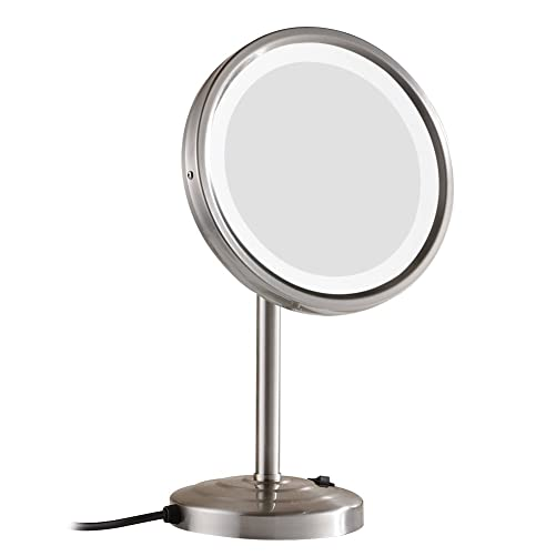 GURUN 8-Inch Tabletop Swivel Vanity Mirror with LED Light 10x Magnification, Brushed Nickel Finish M2209DN 8in,10x