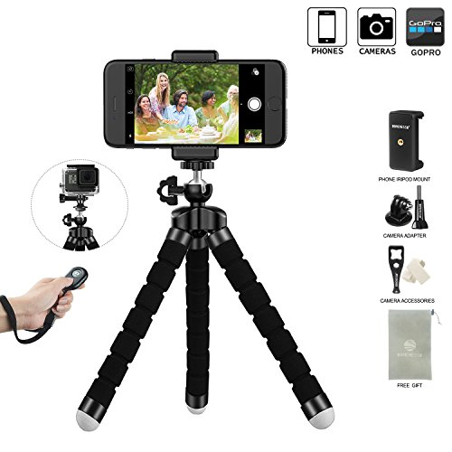 Price comparison product image LONENESSL Digital Phone Tripod Set: Portable And Adjustable Camera Stand Holder With Bluetooth Remote And Universal Clip For iPhone, Android Phone, Cam And Sports Camera Go Pro, Self Timer For Selfie