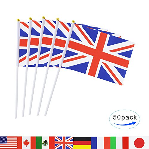 British Union Jack Stick Flag,TSMD 50 Pack Hand Held Small United Kingdom UK Great Britain National Flags,International World Country Flags Banners For Party Decorations,Sports Clubs,Festival Events (Union Flag)