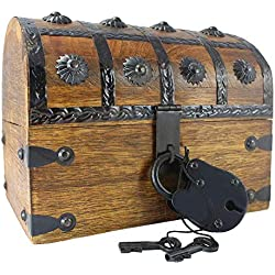 "Well Pack Box Treasure Chest Toy Box for Kids 8"" x 6"" x 6"" Large Blackbeard Model Locking Nautical Antique Style Pirate Party Accessory"