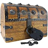 """Well Pack Box Wooden Pirate Treasure Chest 8"""" x 6"""" x 6"""" Box Blackbeard Model Authentic Antique Style With Black Hasp Latch Includes Master Padlock & Vintage Skeleton Keys"""