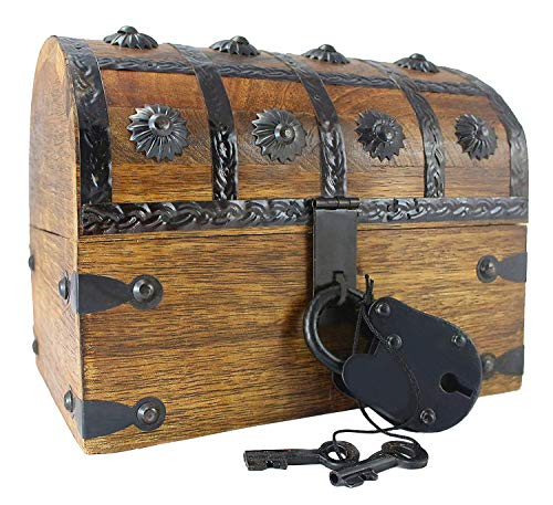 "Well Pack Box Treasure Chest Toy Box for Kids 8"" x 6"" x 6"" Large Blackbeard Model Locking Nautical Antique Style Pirate Party Accessory by Well Pack Box"