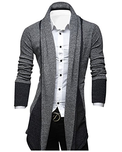 Tom's Ware Mens Classic Fashion Marled Open-Front Shawl Collar Cardigan TWGG1308-GRAY-US M