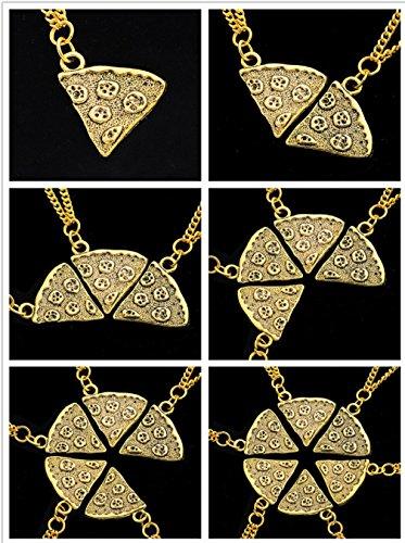 MJartoria Women's Antique Gold Color Pizza Slice Friendship Necklace Set of 4