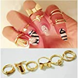 Crazycity Skull Bowknot Heart Nail Knuck Band Midi Mid Finger Tip Stacking Rings (7peices)