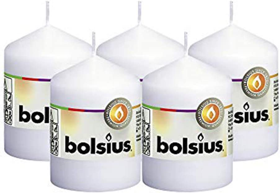 """BOLSIUS Set of 5 White Unscented Dripless Pillar Candles Aprox 2.25: x 3.25"""" - Clean Burning Smokeless Dinner Candles for Wedding & Home Decor Party Restaurant Spa - Individually Wrapped"""
