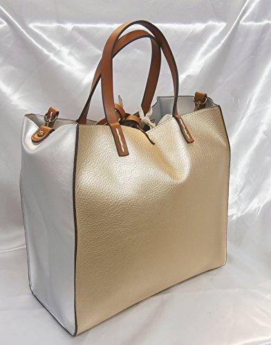 Manila Grace Felicia Bag borsa medium Tote colore gold metal
