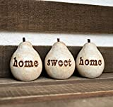 Rustic white home sweet home pears // 3 handmade decorative clay pears with hand stamped text