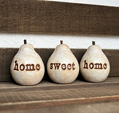 (Rustic white home sweet home pears // 3 handmade decorative clay pears with hand stamped)