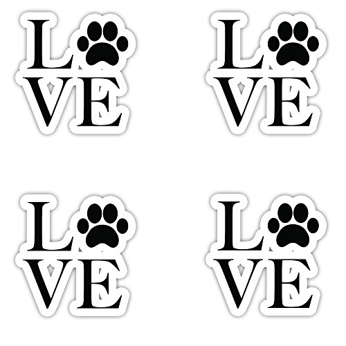 I Love Dogs Sticker - Vinyl Decal - Laptop, Decor, Window Vinyl Decal Sticker - (4 Stickers Each 2