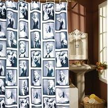 Marrywindix Retro Marilyn Monroe Style Black & White Marilyn Monroe Shower Curtain with Hooks (5.9' X 5.9')