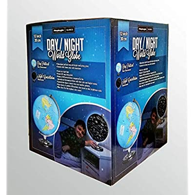 Replogle Day/Night Illuminated Globe, 12 Inches Political map on Outside and Constellations on Inside, Made in USA: Toys & Games