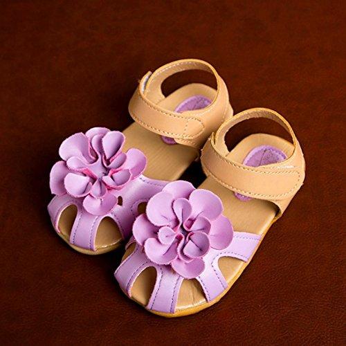 Tefamore Zapatos Sandalias Bebe de Cool Sandalias de Flor Verano Antideslizante Niños Pequeños Chica morado