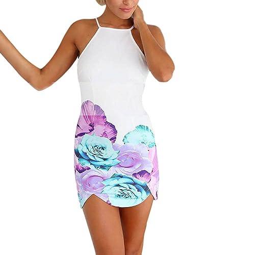 ROPALIA Women Floral Backless Dress Evening Party Prom Clubwear Beach Mini Dress