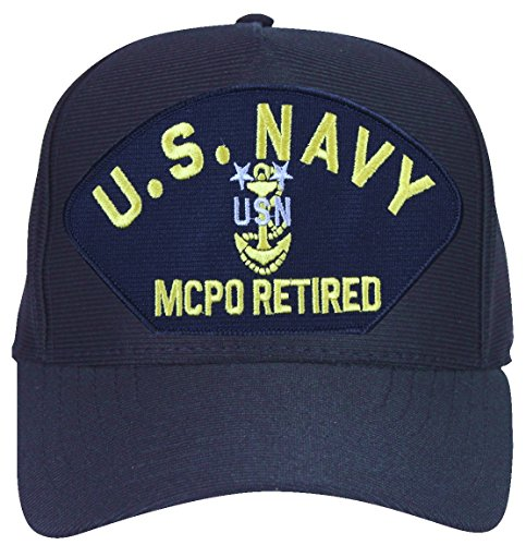 U.S. Navy MCPO Retired with Anchor Ball Cap with Custom Back Text