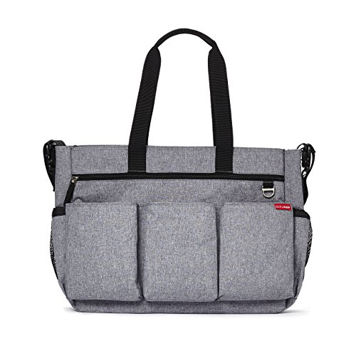 Skip Hop Duo Double Signature Carry All Travel Diaper Bag Tote with Multipockets, One Size, Heather Grey (Stroller Around Wrap Twin)