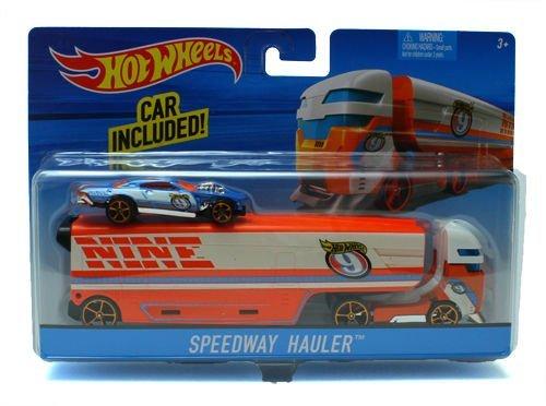 Hot Wheels Super Rig, Speedway Hauler (Blue/Orange) ,#G14E6GE4R-GE 4-TEW6W280916 (Rig Blue)