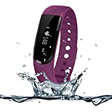 Heart Rate Monitor Watch,007plus D101 IP67 Waterproof Heart Rate Monitor Fitness Tracker Armband Sleep Monitor with Bluetooth 4.0 Pedometers Activity Tracker for Android iOS Smartphone (Purple)