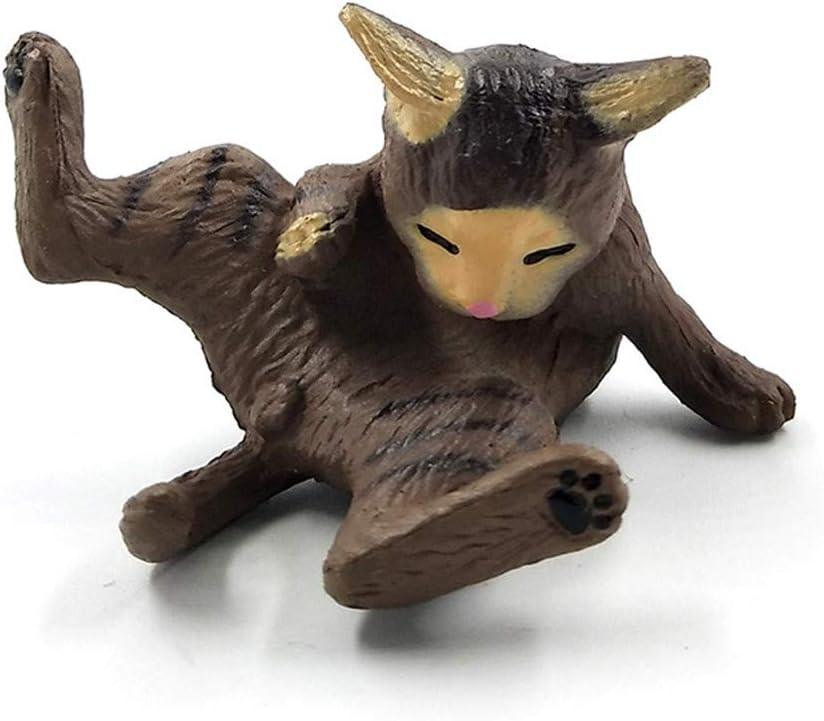 1Pc Playing Cat Figurine Miniature Lifelike Kitten Animal Decoration Mini Fairy Garden Cartoon Statue Craft Home Car Decorative C