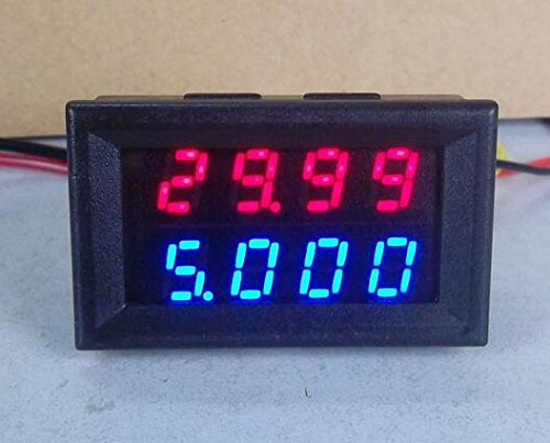 KINWAT Digital DC Voltmeter Ammeter DC 200V 10A Voltage Current Meter Power Supply DC4V-28V Red Blue LED Dual - Motherboard Free Tester