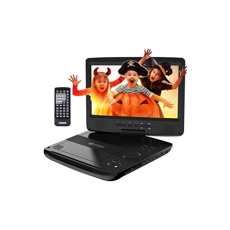 """Portable DVD Player, HDPDVD-01 with 10.1"""" Swivel Screen Car DVD Player for Both Traveling and Indoor Viewing Support SD Card USB DVD AV in/Out Headphone 5 Hours Rechargeable Battery Black"""