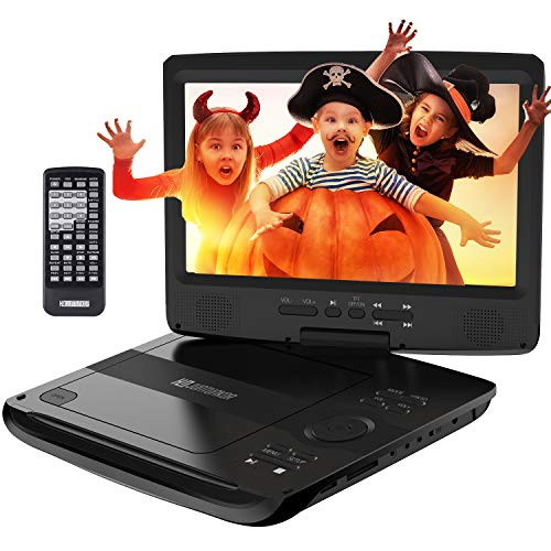 "Portable DVD Player, HDPDVD-01 with 10.1"" Swivel Screen Car DVD Player for Both Traveling and Indoor Viewing Support SD Card USB DVD AV in/Out Headphone 5 Hours Rechargeable Battery Black"