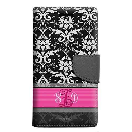 Pink Monogram Iphone (Monogram Apple iPhone 6 Plus Wallet Case - White Damask on Black with Pink Ribon)