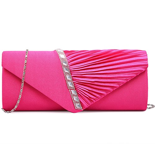 Miss Lulu New Ladies Satin Pleated Evening Party Wedding Prom Envelope Clutch Hand Bag 6682 Elegant Diamante Clutch Beige