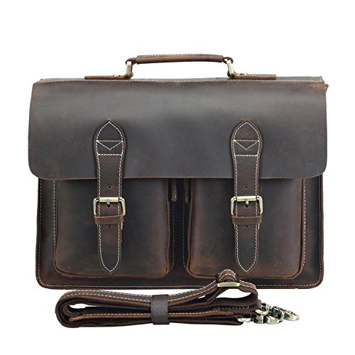 - Polare Mens Full Grain Leather Removeable Padding Briefcase Messenger Bag Satchel Fit 14''Laptop