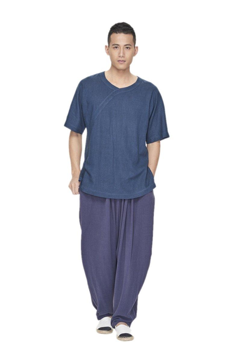 ZanYing Men Yoga Taichi Loose Pants Summer Casual Meditation Pants (L, Blue)