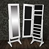 LicongUS Free Standing Mirror Jewelry Cabinet White Jewelry Cabinet Jewelry Cabinet Organizer Overall dimensions: 1' 4'' x 1' 2'' x 4' 9'' (L x W x H)