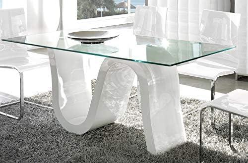 Kasalinea Campari - Mesa de Comedor (Cristal Lacado), Color Blanco