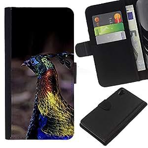 EJOY---La carpeta del tirón la caja de cuero de alta calidad de la PU Caso protector / Sony Xperia Z2 D6502 / --pájaro del pavo real vibrante oro azul de primavera