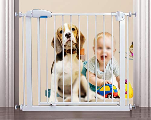 Extra Wide 33-63 Inches Safety Gate with Pet Door, Easy Walk Indoor Thru Gate Metal Baby Pet Safety Gate, Height 29 Inches (Size : Width 135-141cm)