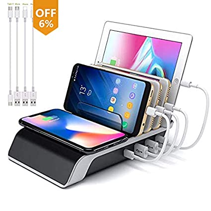 Leopardprintfans Charging Stations for Multiple Devices, 5-in-1 Desk Docking Station Organizer for iPhone Charging Stations, 3 USB/1 Type-C Ports and ...