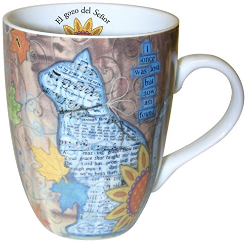 Divinity Boutique Spanish Inspirational Ceramic Mug, Autumn Cat with Scripture Nehemiah 8:10, Multicolor